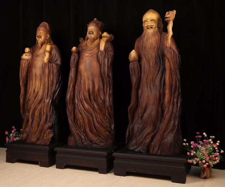 金丝楠木福禄寿,精品人物根雕木雕艺术根雕品