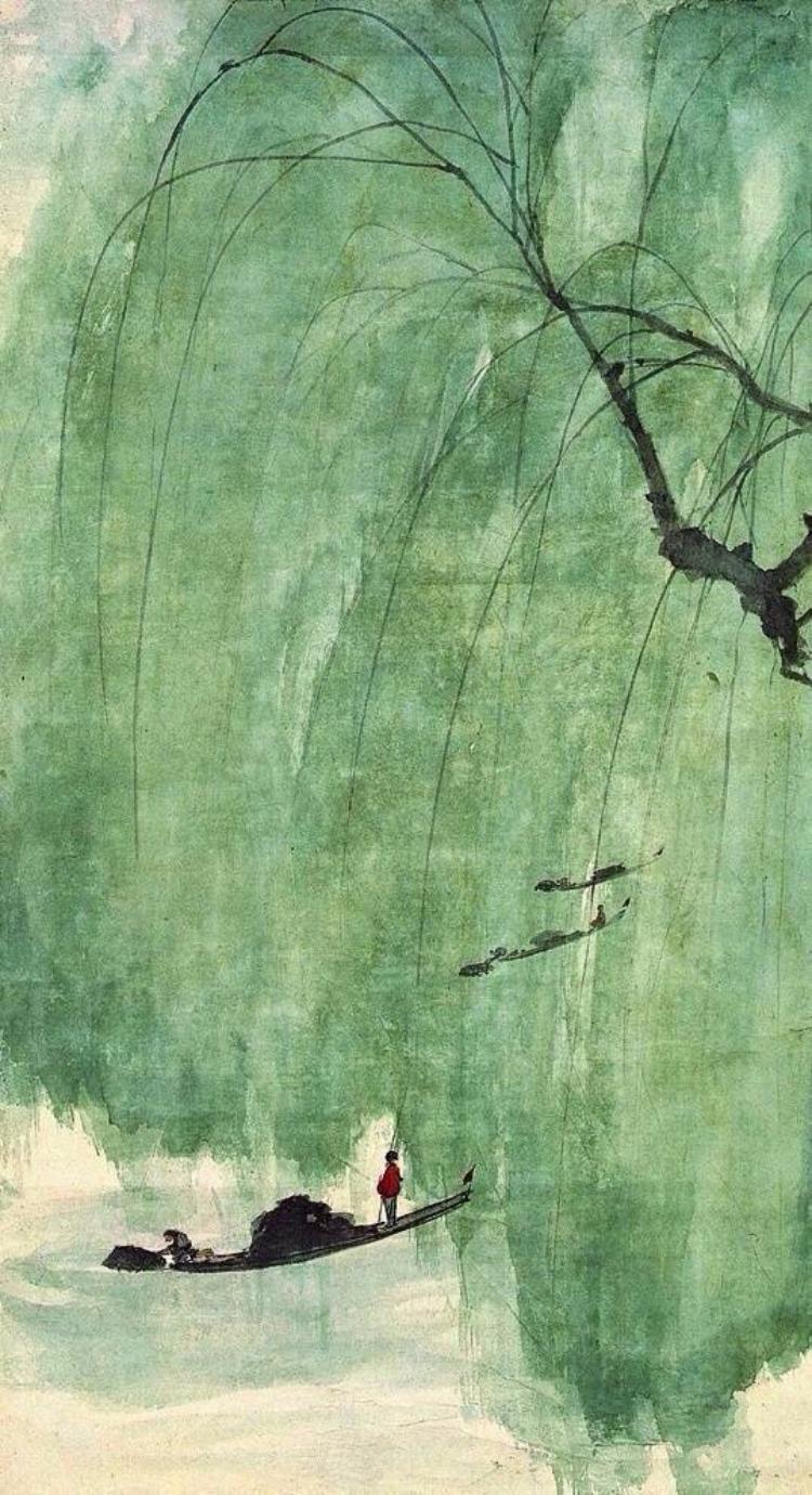 傅抱石 山水翠柳人物画欣赏
