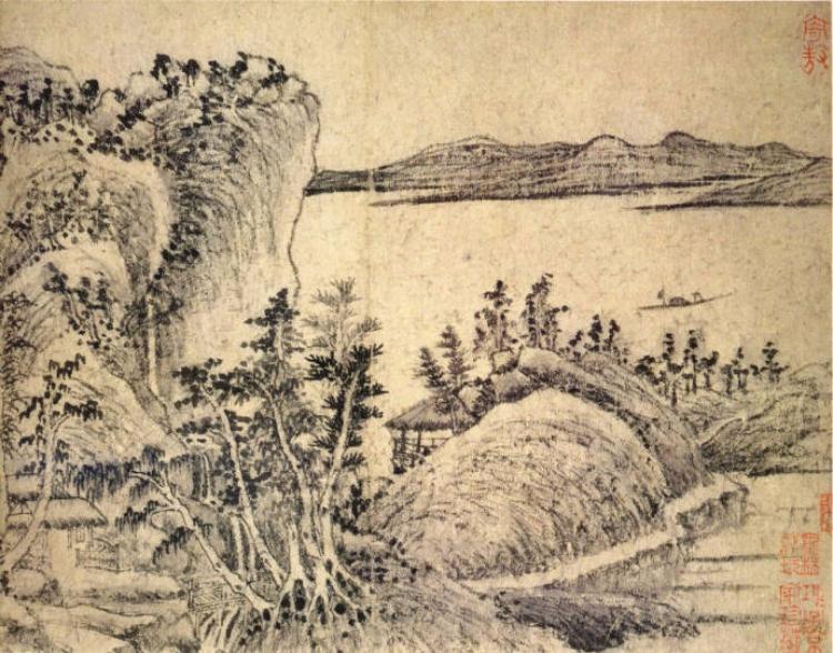 王蒙 元《溪山风雨图册》