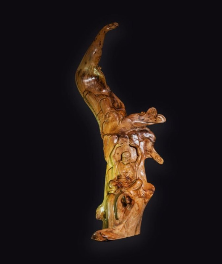 福建莆田雕刻大师黄剑雄纯手工制作的北太行陈化料崖柏木十八罗汉
